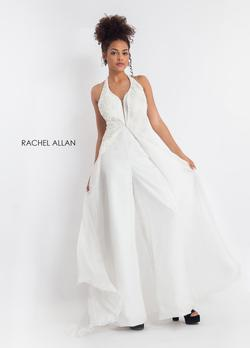 Style L1176 Rachel Allan White Size 4 Jumpsuit Dress on Queenly