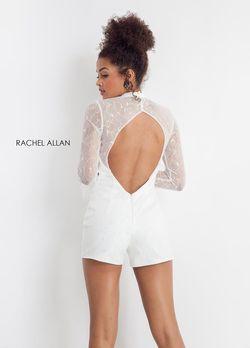 Style L1188 Rachel Allan White Size 4 Long Sleeve Jumpsuit Dress on Queenly