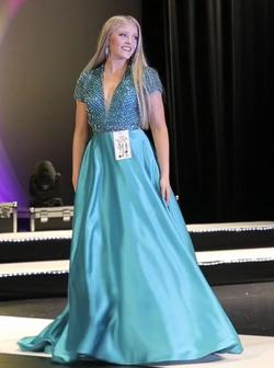 Sherri Hill Blue Size 4 Pageant Cap Sleeve Ball gown on Queenly
