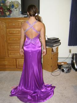 Precious Formals Purple Size 6 Side Slit Floral Straight Dress on Queenly