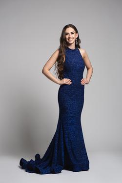 Jovani Blue Size 4 Mini Mermaid Dress on Queenly