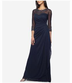 Alex Evening Blue Size 12 Plus Size Polyester A-line Dress on Queenly