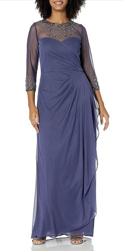 Alex Evening Purple Size 12 Spandex Polyester A-line Dress on Queenly