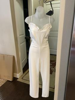 White Size 12 Jumpsuit Dress on Queenly