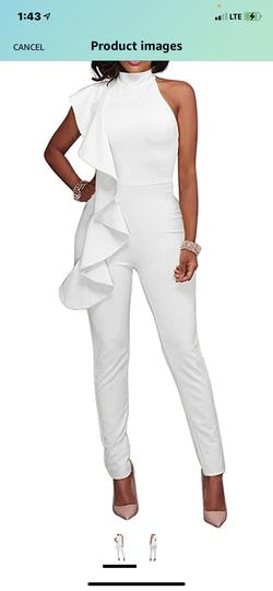 White Size 10 Jumpsuit Dress on Queenly