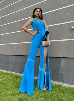 Jovani Blue Size 2 Jumpsuit Dress on Queenly