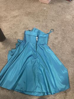 Mori Lee Blue Size 10 Flare Ruffles Cocktail Dress on Queenly