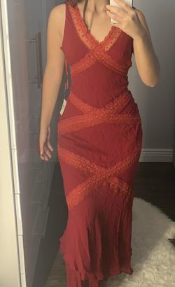 Sue Wong Red Size 4 Silk Straight Dress on Queenly