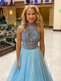 Sherri Hill Blue Size 0 Ball gown on Queenly