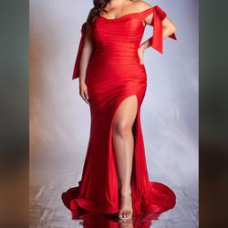 Cinderella Divine Red Size 20 Train Pageant Plus Size Prom Mermaid Dress on Queenly
