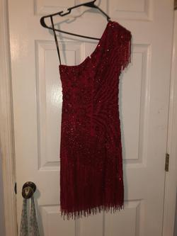 Sherri Hill Red Size 4 Fringe One Shoulder Cocktail Dress on Queenly