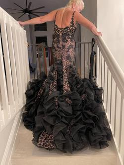 Mac Duggal Black Size 6 Lace Ruffles Train Dress on Queenly