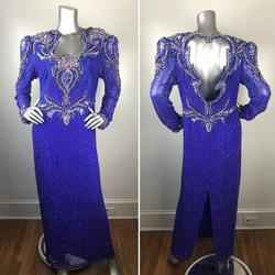 Landa Purple Size 18 Sequin Silk Plus Size Straight Dress on Queenly