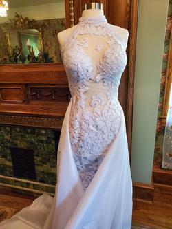 Debbie Carroll  White Size 4 Custom Jewelled Lace Train Dress on Queenly