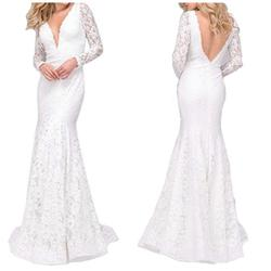 Jovani White Size 00 Lace Backless Mermaid Dress on Queenly