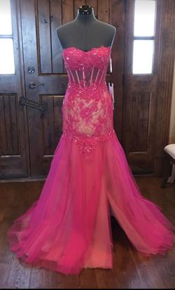 Mac Duggal Pink Size 6 Corset Strapless Jewelled Mermaid Dress on Queenly