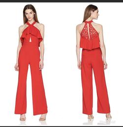 Bebe Red Size 6 Lace Jumpsuit Dress on Queenly