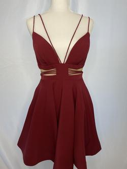 Sherri Hill Red Size 6 Sheer Burgundy Flare Cocktail Dress on Queenly