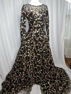 Jovani Black Size 6 Orange Shiny Overskirt Jewelled Train Dress on Queenly
