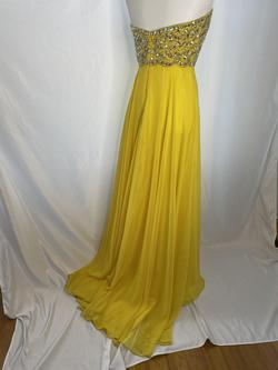 Mori Lee Yellow Size 8 Strapless Straight Dress on Queenly