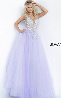 Jovani Purple Size 6 Tulle Jewelled Ball gown on Queenly