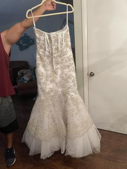 Tiffany Design White Size 14 Gold Mermaid Dress on Queenly