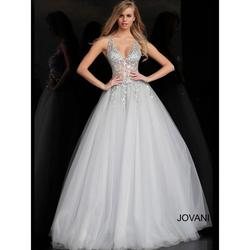 Jovani Blue Size 4 Tulle Jewelled Ball gown on Queenly