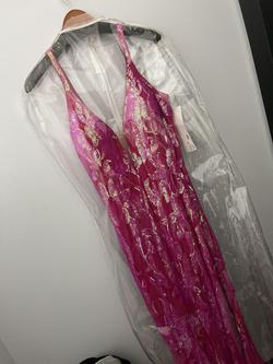 Jovani Pink Size 16 Jersey Jewelled Plunge Mermaid Dress on Queenly