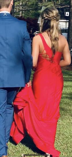 Sherri Hill Red Size 4 Side slit Dress on Queenly