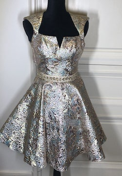 Sherri Hill Gold Size 4 Backless Jewelled A-line Dress on Queenly