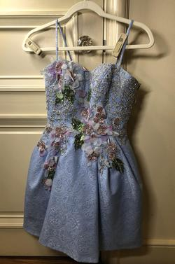 MacDuggal Blue Size 4 Custom Lace A-line Dress on Queenly