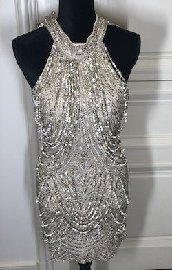 Sherri Hill Gold Size 4 Backless Halter Cocktail Dress on Queenly