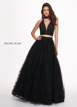 Style 6524 Rachel Allan Black Size 4 Prom Halter Ball gown on Queenly