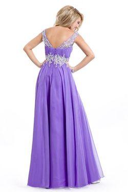 Style 6487 Rachel Allan Purple Size 10 Pageant Side slit Dress on Queenly