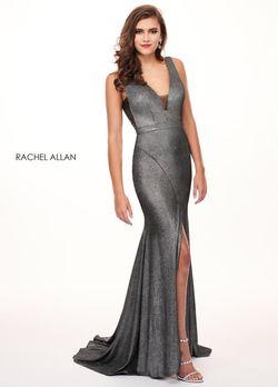 Style 6529 Rachel Allan Silver Size 10 Shiny Prom Halter Side slit Dress on Queenly