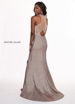 Style 6491 Rachel Allan Gold Size 10 Pageant Shiny Prom Side slit Dress on Queenly