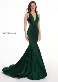 Style 6595 Rachel Allan Green Size 4 Embroidery Halter Mermaid Dress on Queenly