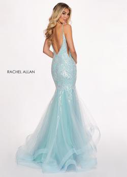 Style 6409 Rachel Allan Light Blue Size 8 Prom Mermaid Dress on Queenly