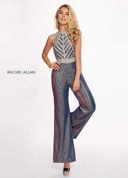 Style 6441 Rachel Allan Silver Size 4 Interview Hot Pink Shiny Jumpsuit Dress on Queenly