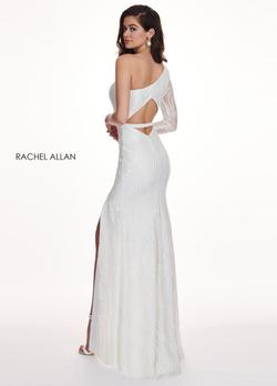 Style 6468 Rachel Allan White Size 2 Prom One Shoulder Embroidery Side slit Dress on Queenly
