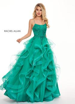 Style 6526 Rachel Allan Green Size 12 Plus Size Ball gown on Queenly