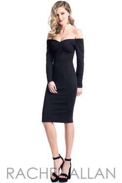 Style L1121 Rachel Allan Black Size 4 Jersey Nightclub Cocktail Dress on Queenly