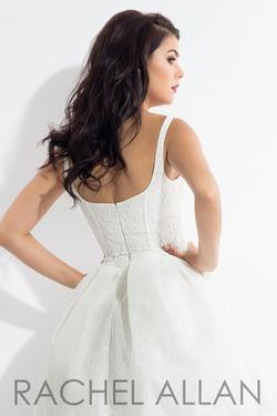 Style L1127 Rachel Allan White Size 4 Lace Cocktail Dress on Queenly