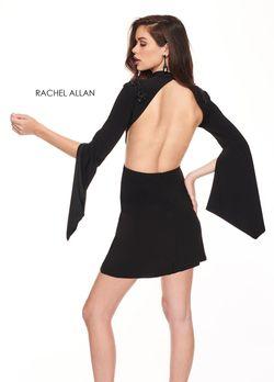 Style L1219 Rachel Allan Black Size 4 Jersey Nightclub Bell Sleeves Cocktail Dress on Queenly