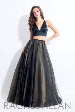 Style 6065 Rachel Allan Black Size 6 Prom Halter Ball gown on Queenly