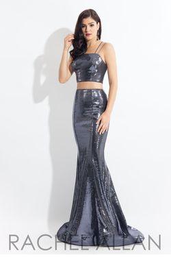 Style 6141 Rachel Allan Silver Size 10 Shiny Prom Mermaid Dress on Queenly