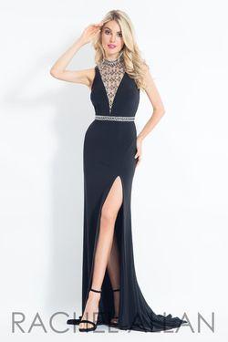 Style 6016 Rachel Allan Black Size 4 Plunge Side slit Dress on Queenly
