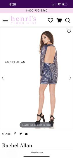 Rachel Allan Blue Size 8 Backless Shiny Cocktail Dress on Queenly