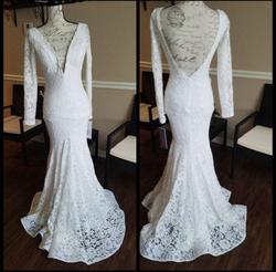 Jovani White Size 00 Prom Lace Mermaid Dress on Queenly
