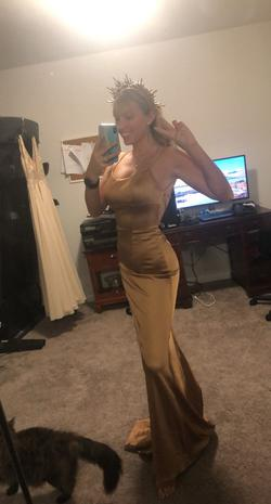 Sherri Hill Gold Size 0 Backless Jersey Spaghetti Strap Mermaid Dress on Queenly
